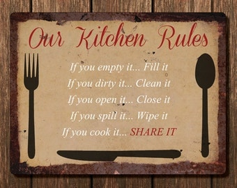 Vintage Metal Wall Sign - Our Kitchen Rules (RULES00005)