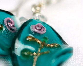Rose Twisted Glass Shimmer Earrings on Sterling Silver .925 with teal, Crystal Preciosa