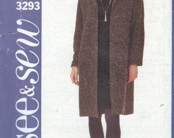 2000's Jacket Pattern Butterick 3293 Coat And Dress Pattern A-Line Womens Sewing Patterns Womens Size 18-22 uncut