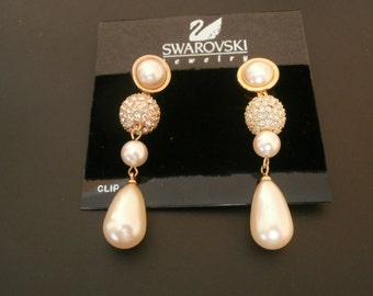 Signed Swarovski Post Earrings - Pearls & Crystal in Gold Plated Setting -New