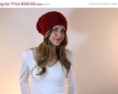 15% OFF SALE Extra Slouchy Textured Hat Beanie Knit // Zig Zag // Red