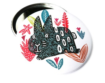 Rabbit, Easter bunny, hare. Compact mirror, pinback button, bottle opener or magnet