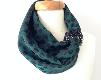 Fashion Scarf, Trendy Scarf, Green and Black  Scarf, Dotto Scarf, Houte Couture