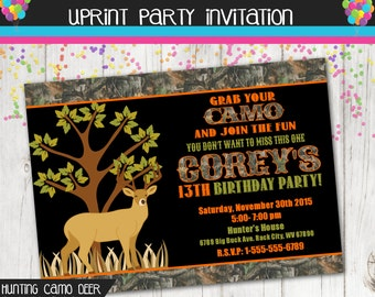 Deer Invitation - Camouflage Invitation - Camo Invitation - Hunting Invitation - Custom