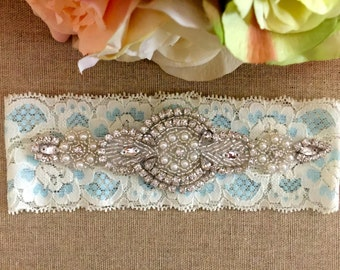 Wedding Garter - Bridal Garter - Crystal Rhinestone Garter on Ivory and Light Blue Lace