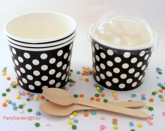 25 Black Polka Dot Ice Cream Cups - Large 16 oz
