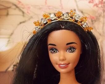 Orange  Crown for a Princess, Renaissance 1:6 Scale Fashion Doll Accessories.