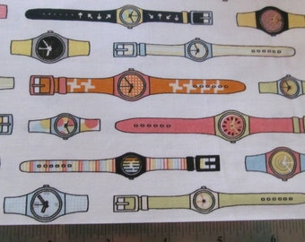 Riley Blake Watches  Swatches on White Geeky Chic 100% Cotton Fabric  By the Yard #383