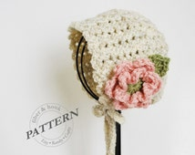 CROCHET PATTERN - Petite Shells Baby Bonnet, Baby Crochet Bonnet Pattern, Flower Bonnet, Baby Crochet Hat (0-24 months sizes) pdf #039H