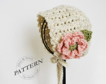 CROCHET PATTERN - Petite Shells Baby Bonnet, Baby Crochet Bonnet Pattern, Flower Bonnet, Baby Crochet Hat (0-24 months sizes) pdf #039H