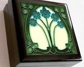 Keepsake / Jewelry Box - Art Nouveau Ceramic Tile Lid