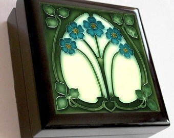 KB004 - Keepsake / Jewelry Box - Art Nouveau Ceramic Tile Lid - Black or Mahogany Box