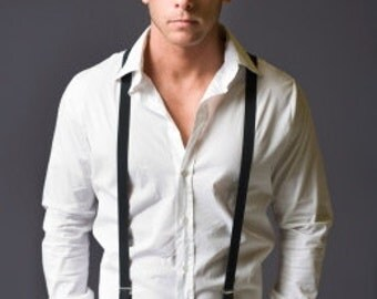 Black Suspenders. 4 Silver Metal High Quality Clips. Width 2.5 cm, Made in France.