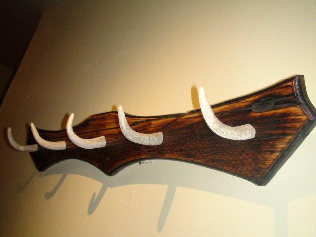 Elk antler coat rack 5 hook made from reclaimed wood and 5 - Antler key rack ...