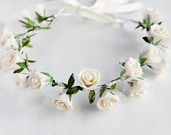 Cream Rose Crown, Wedding Halo, Bridal Head Wreath, Woodland Crown, Rose Hair Garland, Flower Girl Crown, Toddler Crown, Flower Girl Halo