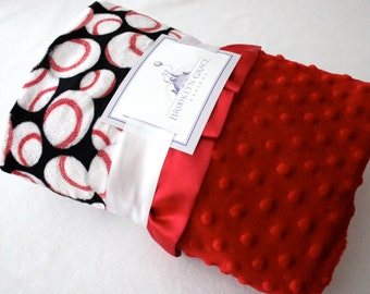 Adorable Black, White & Red Baseball Print Minky, Finished with a Soft Red Satin Trim, Girls, Boys, Baby, Sports