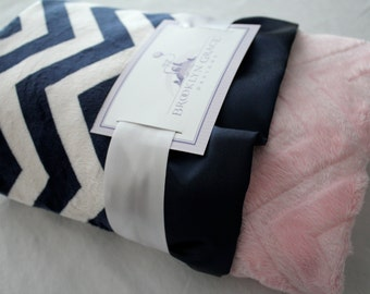 Navy and White Chevron with Light Pink Solid Chevron on Reverse Baby Minky Blanket -  Finished with a Navy Satin Ruffle Trim