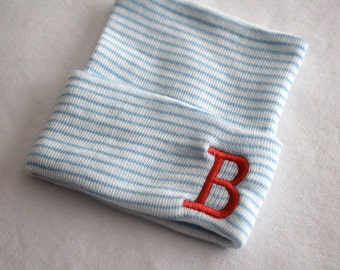 Newborn Beanie Hospital Hat, Baby Boy or Girl, Cotton, Blue and White, Embroidery, Initials, Baby Keepsake, Pink and White, coral initial