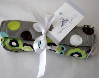 Cotton and Chenille Floral Burp Cloths - Lime, Green, Gray, Turquoise, Aqua, Baby Shower, Diaper Bag, Feeding, Nursing