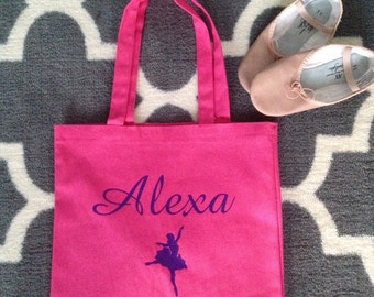 Adorable Girls Personalized Ballet~Dance~Gymnastics Canvas Tote Bag