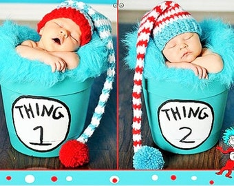 Thing 1 Thing 2 hats,Twins photo Prop Dr Seuss hats, Twins cake smash, twins birthday hats, Dr Seuss newborn photo prop, dr seuss photo prop