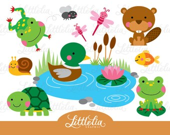 Pond Friend clipart - frog and turtle clipart - pond animal 15003