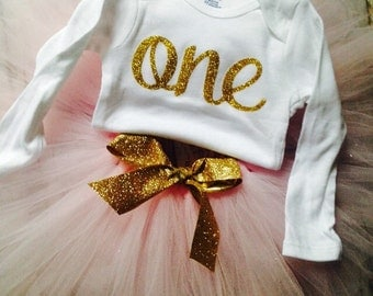 One Birthday outfit/1st Birthday outfit One/Pink and Gold Birthday Outfit/First Birthday Outfit