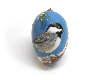 Hand Painted Christmas Ornament with Chickadee in Pine Tree Goose Egg Collector Ornament