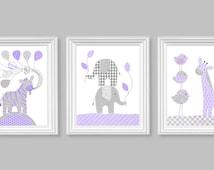 Baby Girl Nursery Art Elephant Nursery Decor Purple and Grey Baby Room Decor Giraffe Zebra Girl's Room Decor Baby Canvas Art Zoo Jungle