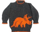 Dinosaur Child's Sweater and Hat - Triceratops - Knitting Pattern,  Dinosaur Sweater and Hat Knitting Pattern, Dinosaur Knitting Pattern