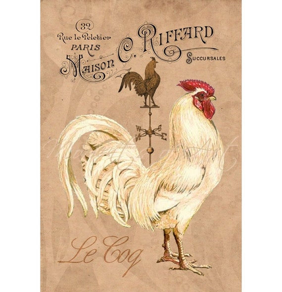 Rooster Kitchen Decor French Country: French Country Rooster 8x10 Print White Rooster By