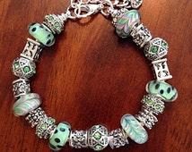 Bracelet, Cancer Awareness Bracelet, Lampwork Bead Bracelet, European Bead Bracelet, Green Murano Glass Bead Bracelet