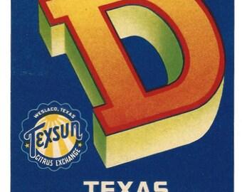 Crate Label - Texas Citrus Fruit - Texsun Citrus Exchange - Weslaco Texas