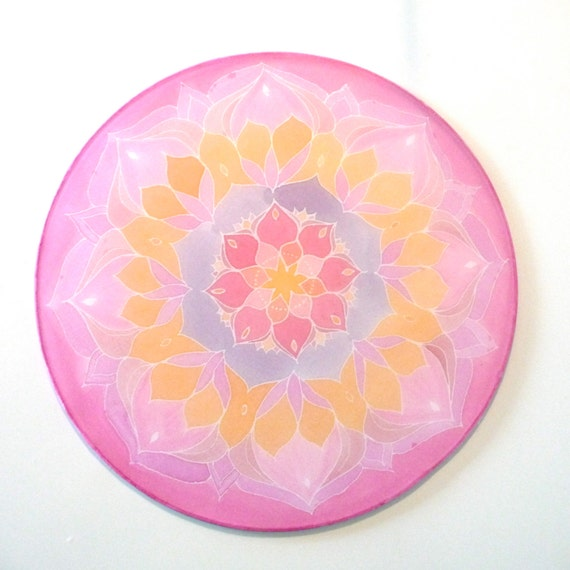"""Lotus flower, Silk mandala, Ø 10""""in, silk painting, meditation, picture, relaxation, new age"""