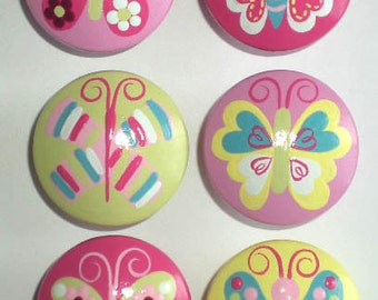 Kids Pretty Butterflies Drawer Knobs Cabinet Pulls