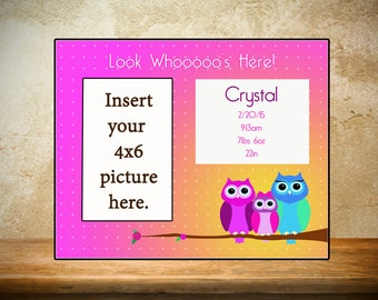 Personalized Baby Frame/Birth Frame - Look Whoos here theme/owl theme