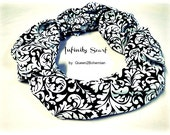 Infinity Scarf Black White,Fashion Scarf,Eternity Circle Scarf,Fall Fashion,Made in USA,Fall Winter Fashion,Ready to Ship,Direct Checkout