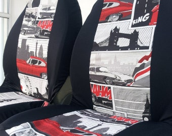 MODERNIST Pair of car front seat covers. Retro English classic print