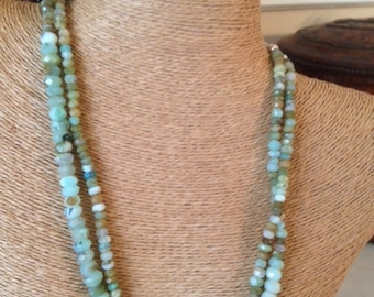 """Genuine Faceted Peruvian Opals with 925 Sterling Silver Dogwood Flower Clasp. 20"""""""