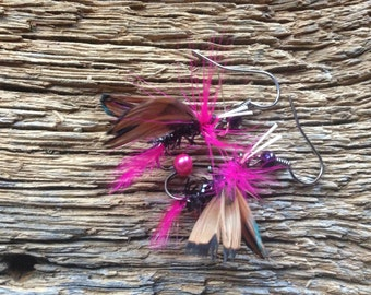 Fly fishing fly earrings: pink and black fly earrings fly fishing jewelry