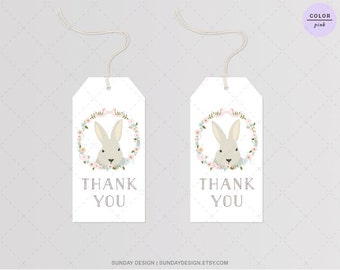 INSTANT DOWNLOAD / Bunny Hop Favor Tag - DIY Printable Digital File - Hang Tags, Thank You Tag, Gift Tags - Baby Shower, Birthday, Wedding