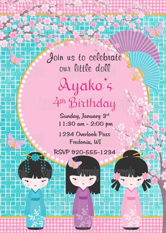 printable kokeshi doll birthday party invitation plus free
