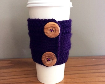 handmade knitted coffee cozy (in purple)