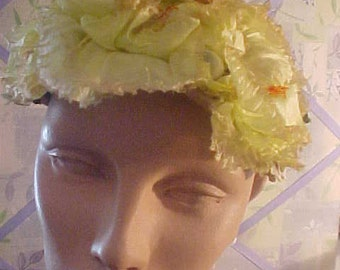 1950s Yellow Flower Hat,Adorable by Sonni, Caifornia