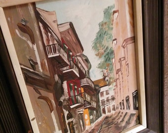 Pair of original signed paintings of a European street scene