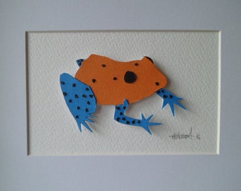 Paper Collage Orange-Blue Poison Dart Frog