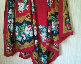 Vintage Oversized Red Floral pattern Oscar de la Renta 100% silk Scarf Made in Japan