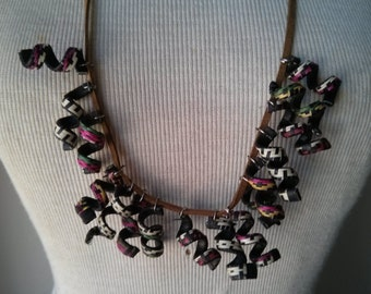 Tiny Tribal spirals and leather necklace