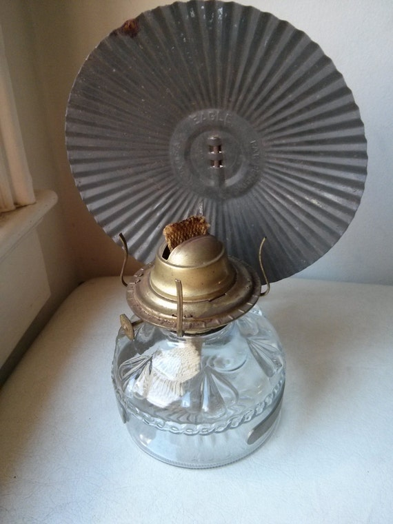 Vintage Glass Oil Lamp With Metal Reflector And Metal Bracket