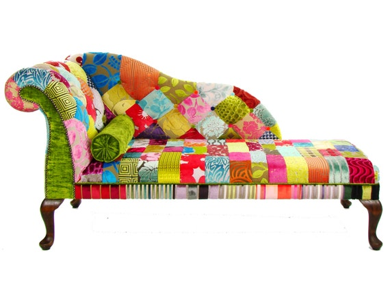 Items similar to bespoke patchwork lhf chaise longue for Chaise longue patchwork
